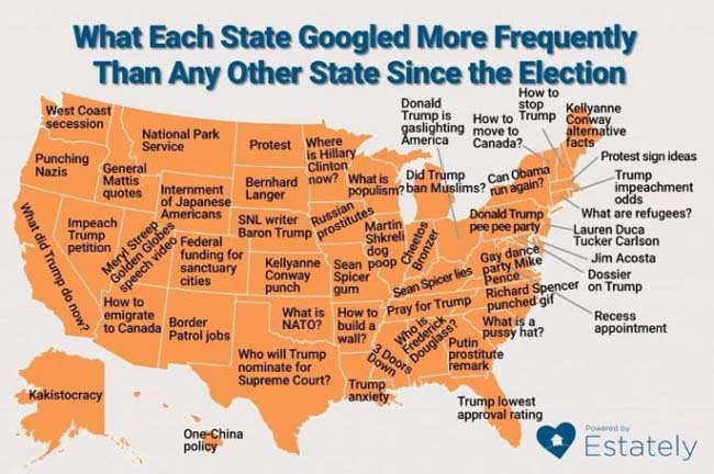 Questions each state has Googled the most since the election. (7)