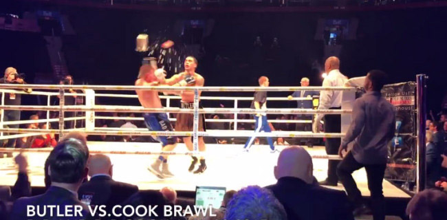 Boxer Wins Fight Then Gets Knocked Out When Fan Throws Bucket Of Ice Into Ring.