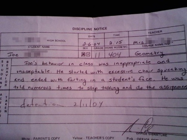 36 Hall of Fame Detention Notes That Should be Framed (Photos)