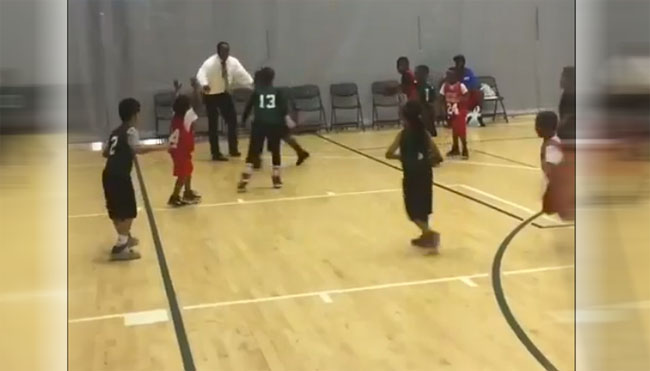 Youth Basketball Coach Blocks Kid's Shot.