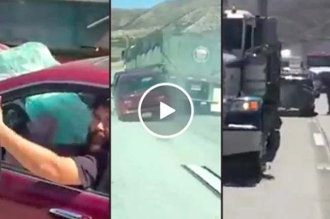 Truck Driver Drags car for Miles (Video.) (1)