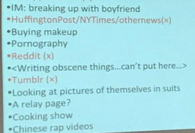 College Instructor Calls Out Class By Posting All the Embarrassing Things She Caught Them Doing on the Internet in Class. (3)
