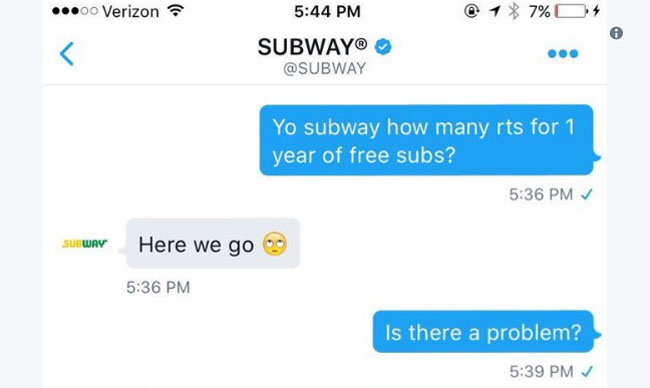 Subway Annihilates Guy Who Tries To Get Free Food For Retweets. (3)