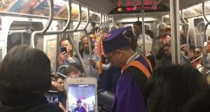 Subway graduation in New York video.
