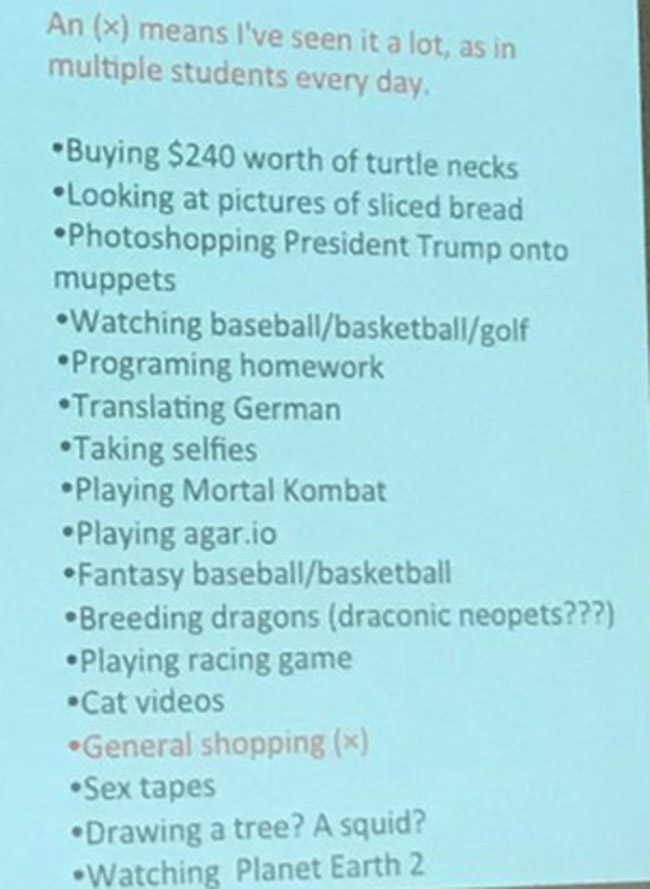 College Instructor Calls Out Class By Posting All the Embarrassing Things She Caught Them Doing on the Internet in Class. (2)