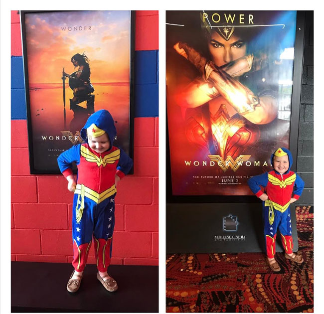 Little Ladies Who Were Empowered By Wonder Woman and posing with the movie poster. (25)