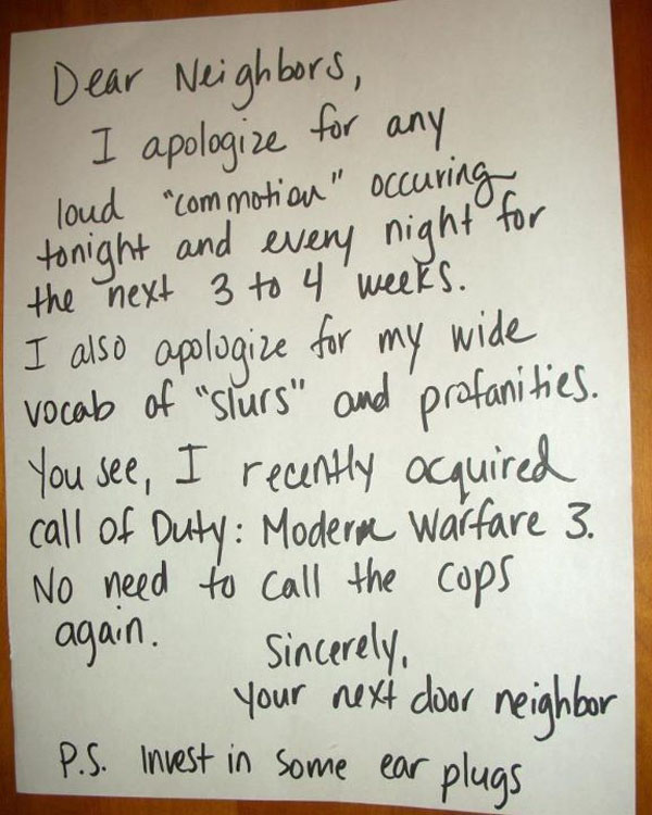 Funny notes left by neighbors. (18)