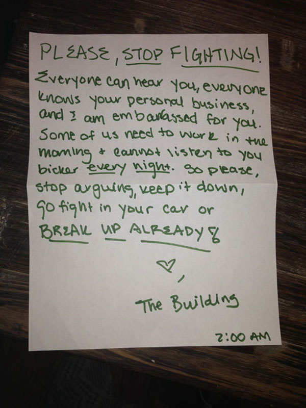 Funny notes left by neighbors. (8)