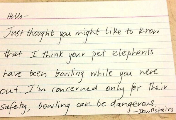 Funny notes left by neighbors. (5)