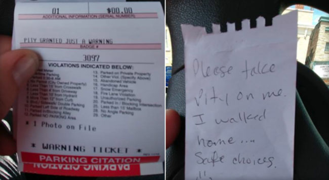 Sauce Monster Leaves Note to Avoid Ticket And it Works!