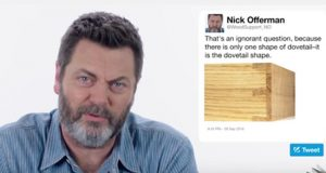 Nick Offerman Answering Woodworking Questions From Twitter is the Best (Video.)