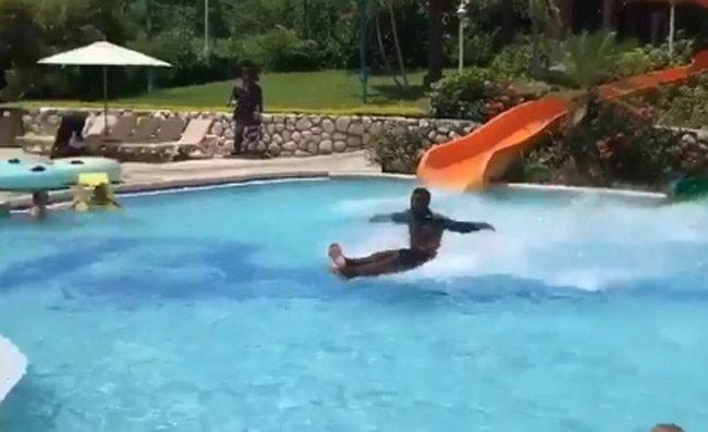 Sauce Monster Exits Water Slide And Skims Across ENTIRE POOL (Video.)