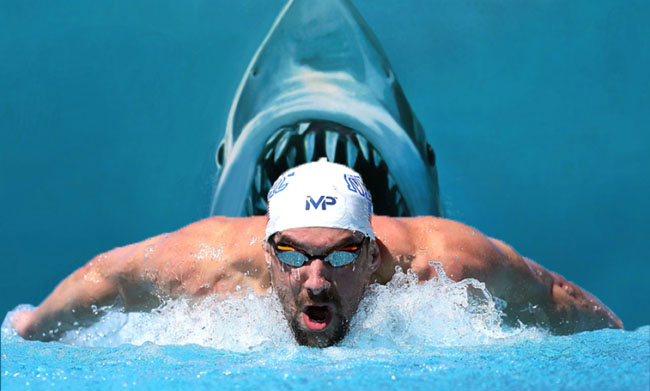 Michael Phelps to Race Great White Shark.