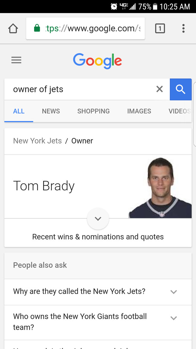Tom Brady who owns the New York Jets. (2)