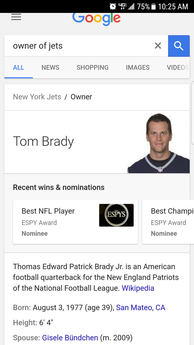 Tom Brady who owns the New York Jets. (1)
