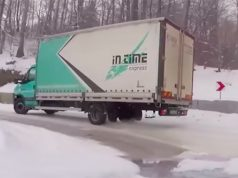 Truck Driving Crazy in Snow (Video.)