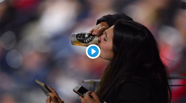foul ball beer chug video.
